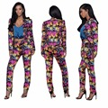 Street Style Women Fashion Flower Print Fitness Women Jacket With Pant Suits Women Brazer Suits Women Set