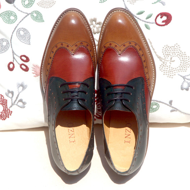 Pour Baskets Décontractées Femmes Yinzo Red Femme Vintage 2019 Appartements Cuir Black brown Oxford Chaussures Brown Dames Printemps Derbies De En wine Véritable ZxBq4x0
