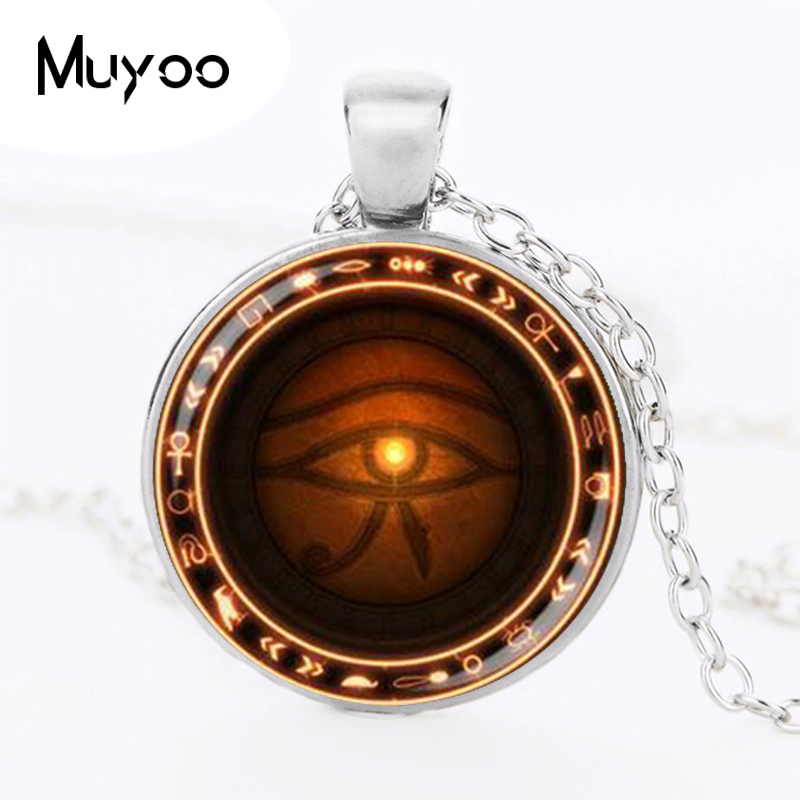 Silver The Eye of Horus necklace Runes of magic necklace evil eye jewelry HZ1