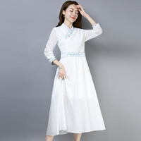 China Traditional Design Clothes High Waist Zipper Chiffon Long Sleeve Dress Women Spring Autumn Slim Embroidery New