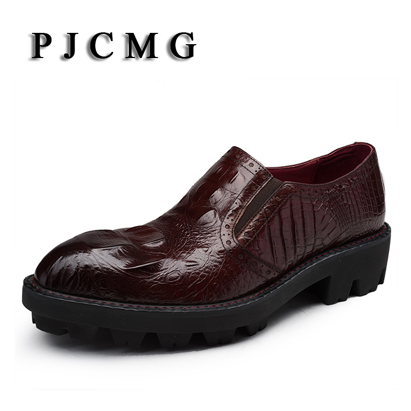 PJCMG New Fashion Men Dress Shoes High Quality Increased Thick Soles Breathable Genuine Leather Crocodile Pattern Oxford Shoes
