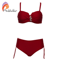 Andzhelika Plus Size Swimwear Bandeau Bikini 2017 Sexy Solid Diamond High Waist Bikini Set Swimsuit Swim