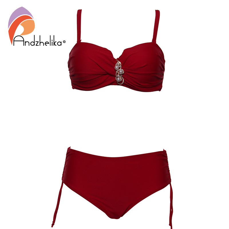 Andzhelika Plus Size Swimwear Bandeau Bikini 2017 Sexy Solid Diamond High Waist Bikini Set Swimsuit Swim
