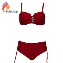 Andzhelika plus size roupa de banho bandeau biquíni 2021 sexy sólido diamante cintura alta biquíni conjunto maiô fatos banho de natação ak8091