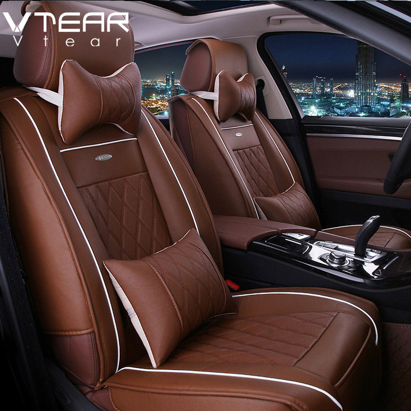Vtear Universal Leather Car Seat Covers for toyota RAV4 C-HR 2013-2018 accessories Car-Styling 5 Seat Car interior leather cover universal pu leather car seat covers for toyota corolla camry rav4 auris prius yalis avensis suv auto accessories car sticks