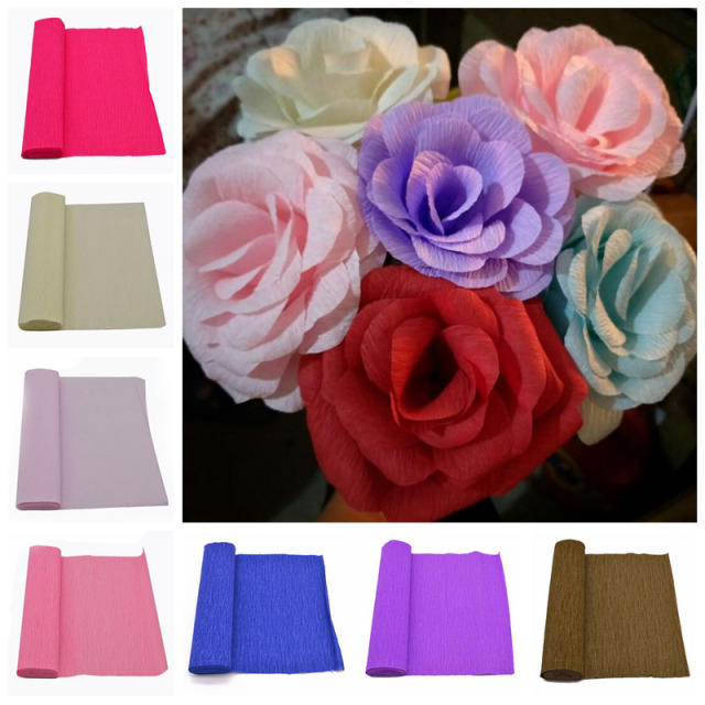25025cm Crepe Paper Streamers Decoration Diy Flower Bouquet Curling