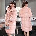 2016 Inverno 5 Cores 4XL Elegante Rosa/branco da pele do falso do revestimento das mulheres quentes manga longa das mulheres do sexo feminino casacos peludos casaco outerwear