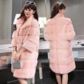 2016 Invierno 5 Colores 4XL Elegante Rosa/blanco faux fur coat chándal manga larga femenina mujeres abrigos peludos abrigo prendas de vestir exteriores