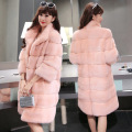 2016 Winter 5 Colors 4XL  Elegant Pink/white  faux fur coat women warm long sleeve female women coats hairy overcoat outerwear