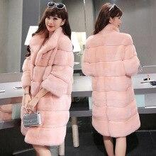 2017 зима 5 цветов Элегантный розовый/белый пальто с искусственным мехом женская утепленная Длинные рукава женские пальто волосатые пальто Верхняя одежда 4xl