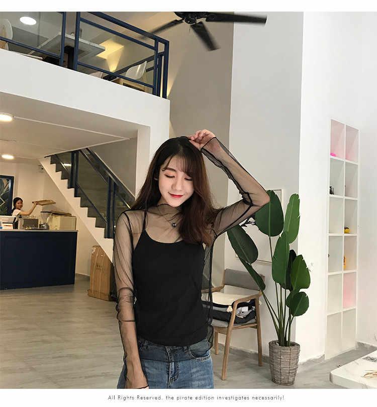 Zomer Vrouwen Kant Base Blouses Shirt Vrouwen tops Sexy mesh Blouses Transparante Hol Lange Mouwen Zwart Shirt Blouse