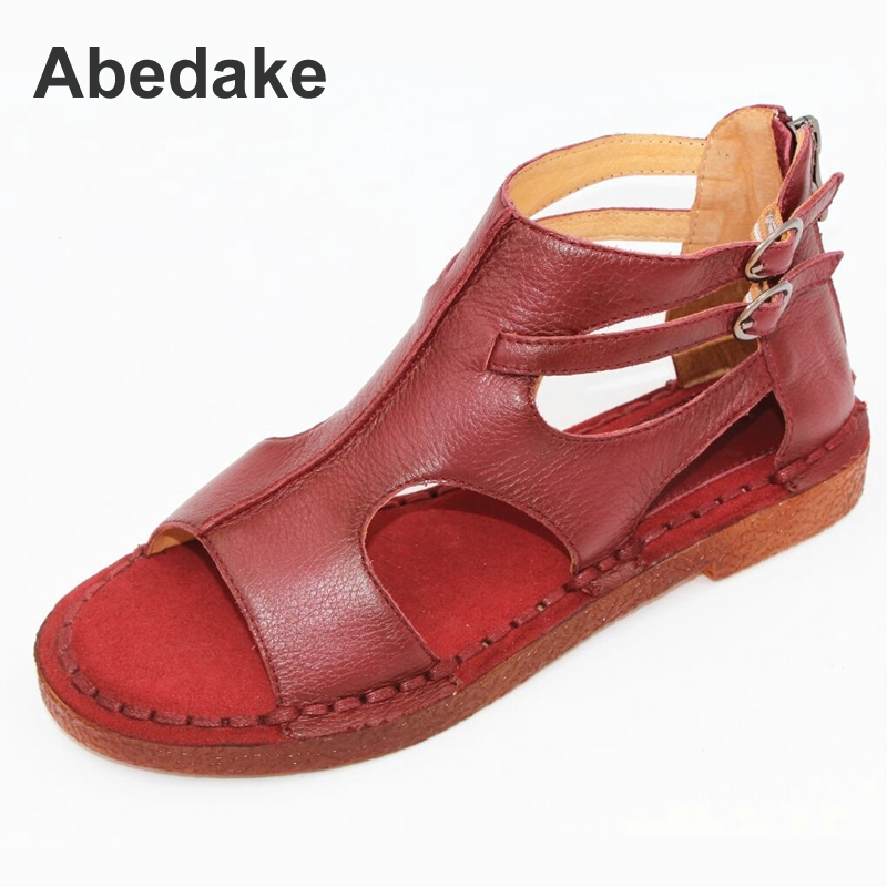 Abedake Brand women sandals female handmade genuine leather women comfortable flat shoes sandals gladiator women summer shoes