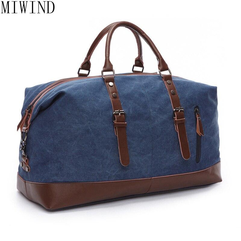 MIWIND Casual fashion Male Canvas Travel Bags new Duffle Bag Pure color Travel Tote Large Capacity men Handbag TMG796