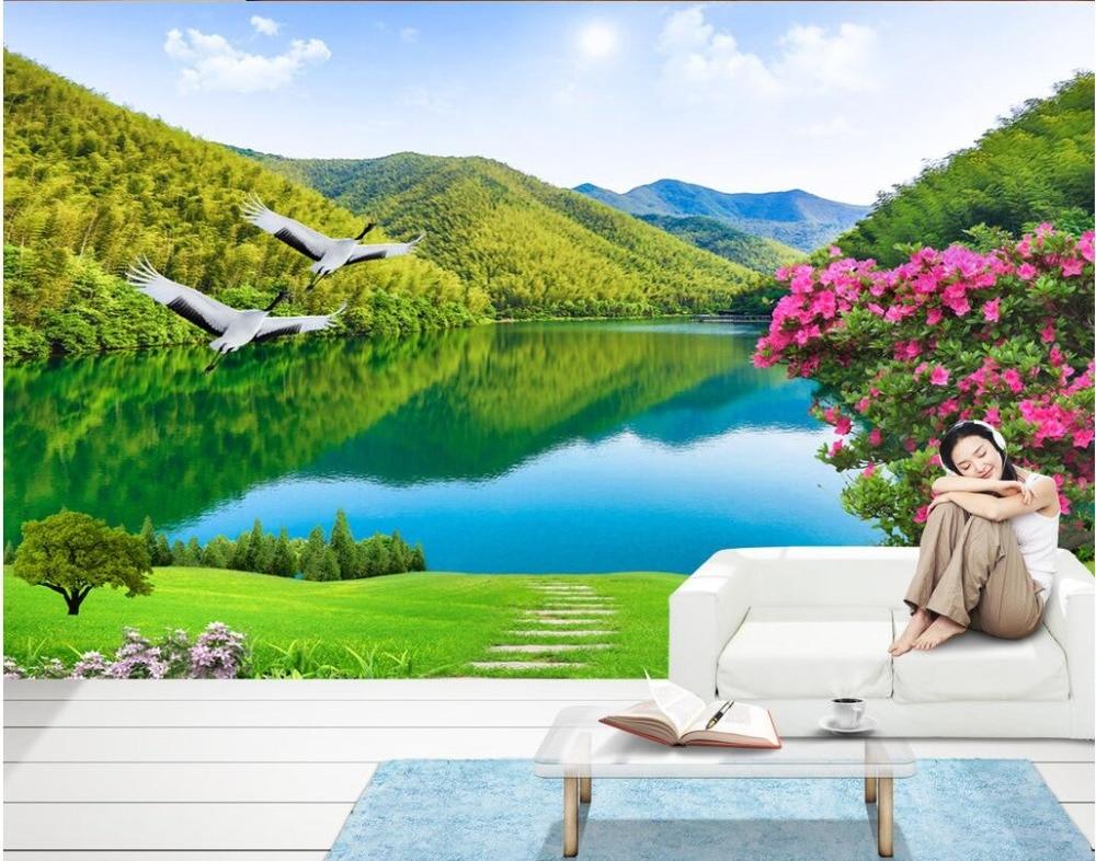 Wall Mural Photo Wallpaper: Custom Photo 3d Wallpaper Non Woven Mural Mountain Meadow