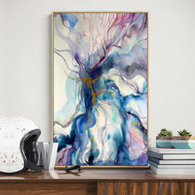 Big Size Fabric Canvas Poster Prints Modern Abstract Watercolor Painting Living Room Decor Cheap Dropship