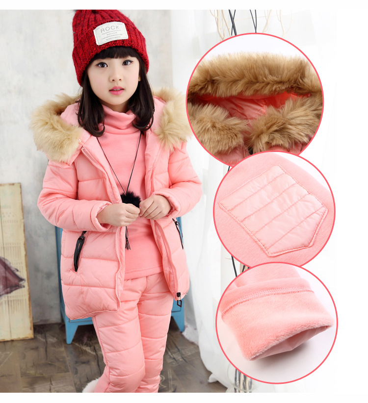 Baby Girls Sets Winter 2018 New Cotton Down Sweater Pants 3 Piece Kids Clothes Girl Suits Costume Sweet Children Clothing 3cs203 2017 new autumn boys girls clothing set winter cartoon 3 piece sets children sport coat suits cotton baby kids clothes outfits