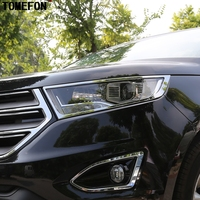 2PCS For Ford Edge 2015 ABS Chrome Front Up Head Light Lamp Cover Trim Front Lamp Hoods Frame Car Covers Auto Accessories