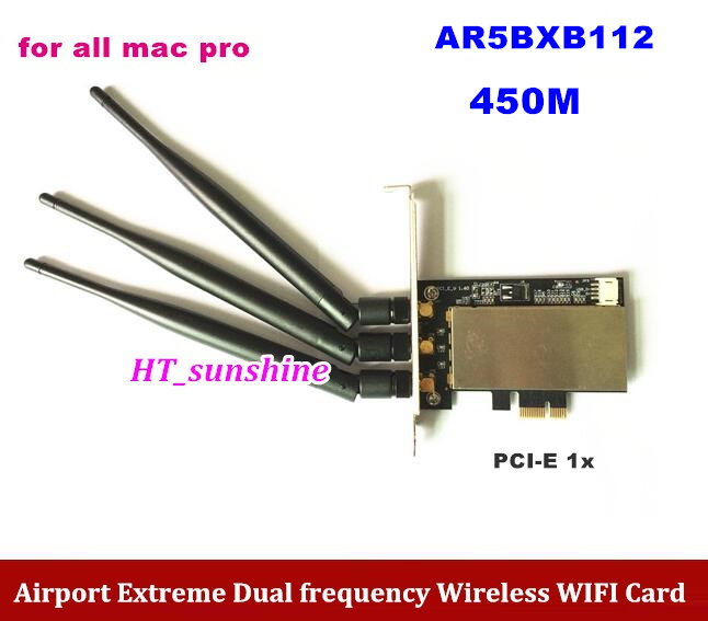 High Quality 450MB Extreme Atheros AR5BXB112 Wireless WIFI Card PCI-E X1 For Mac Pro AR9380 innovision gt1030 black gold extreme edition 1227 1468 6000mhz 2gb 64bit gddr5 pci e карты