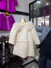 Rabbit skin long set auger fur coat with stripes