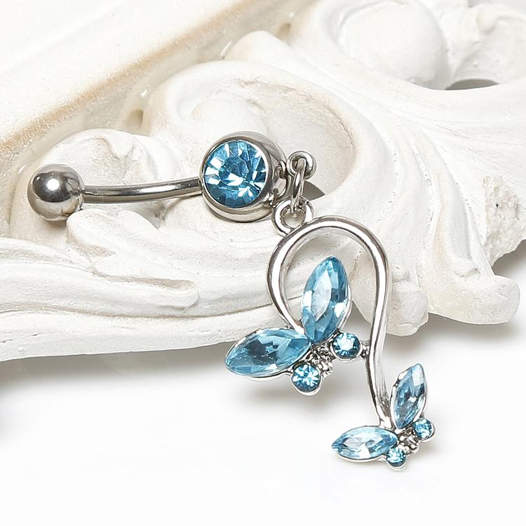 Puffed Heart Lock /& Key Charm Dangle 316L Surgical Steel Freedom Fashion Belly Button Ring Sold by Piece