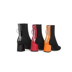 Image 2 - MORAZORA 2019 حجم كبير 34 48 حذاء من الجلد للنساء سستة كعوب عالية على الموضة الأحذية الدافئة الخريف الشتاء bootie فستان