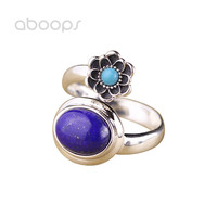 Vintage 925 Sterling Silver Lotus Flower Open Ring For Women Girls Adjustable Free Shipping