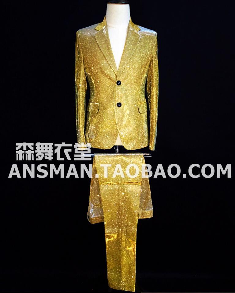 S-5xl 2020 New Mens Gold Color Gradient Glitter Suit Performance Blazers Coat Dress Male Singer Costumes Clothing Men Suits