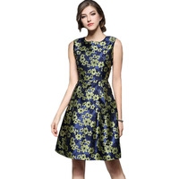 Runway Style Flower Print Dress 2017 New Spring Summer Fashion Women Sleeveless Tunic Casual Party Dresses Vestidos De Festa