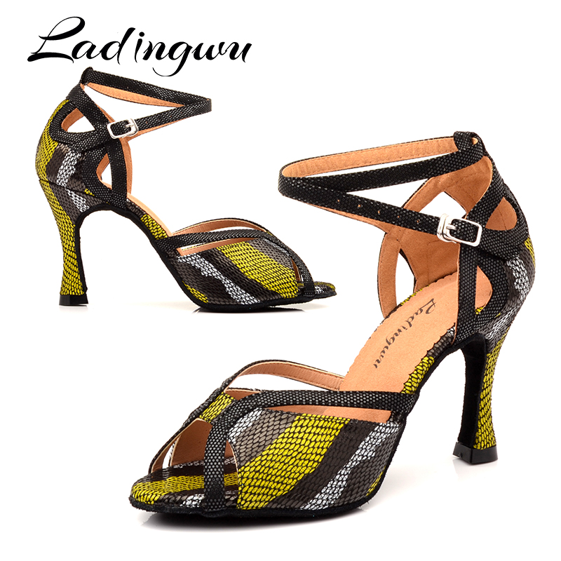 Ladingwu Woman Latin Dance Shoes Purple Gold Black Glitter And Satin Platform Sandals Dance Shoes Ballroom Dancing Heel 10cm