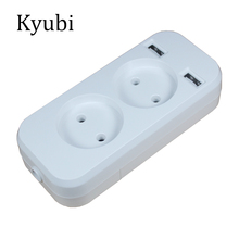 New USB extension Socket for phone charge Free shipping Double Port 5V 2A Usb electrique prise usb murale steckdose KF-01