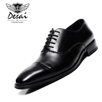 цена Luxury Brand Shoes Men Black Genuine Leather Business Dress Shoe Formal Wedding Oxfords Derby Flats Brogues Shoes zapatos hombre онлайн в 2017 году