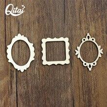 QITAI 72 Pieces/lot Wooden Shape Vintage DIY Wooden Veneer Frame Mini Photo Frame Wooden Flourish Wood Angle Scrapbook WF081A