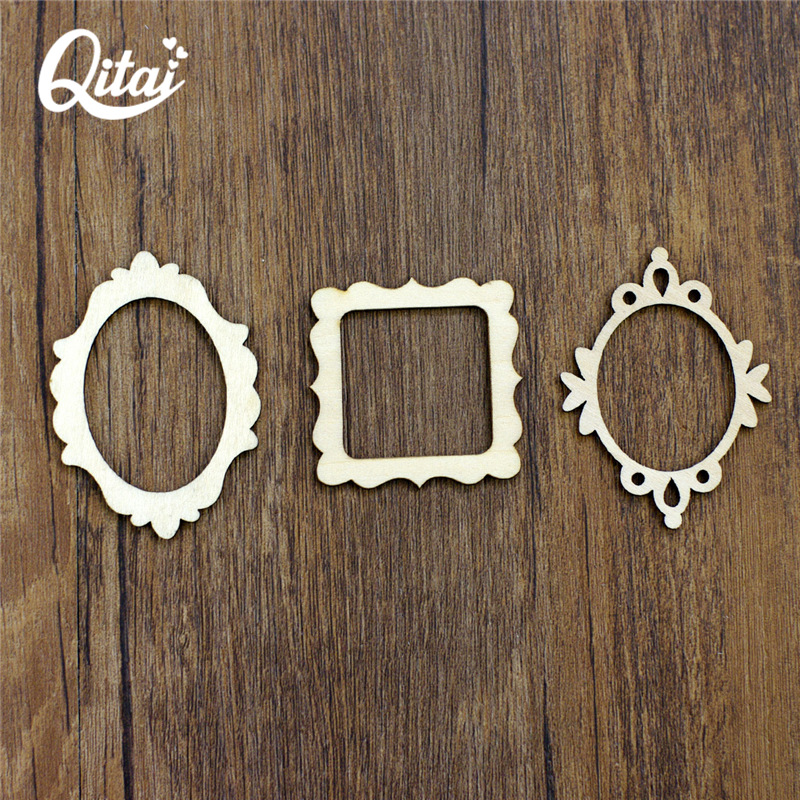 "QITAI 72Pieces Wooden Shape Vintage DIY scrapbooking Wood håndverk ""Mini Photo Frame"" for barn gaver hjem dekorasjon WF081A"