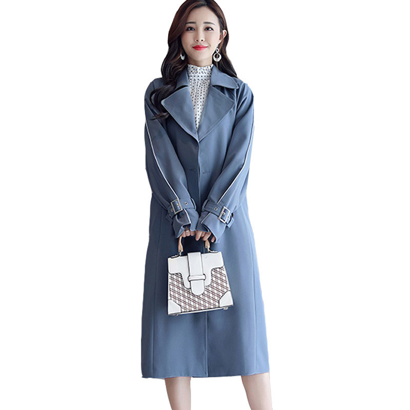 Large Size Long Women   Trench   Coat 2019 Spring Autumn Slim Thin Coat Ladies Windbreaker Elegant Casual Double-Breasted Outwear
