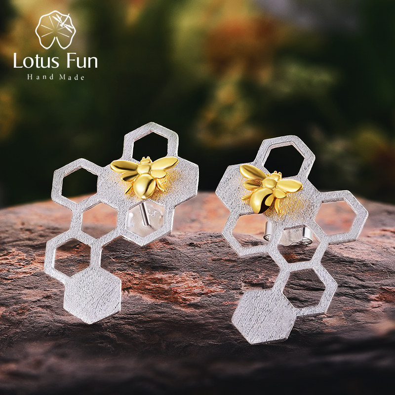 Lotus Fun Real 925 Sterling Silver Earrings Natural Fine Jewelry Honeycomb Home Guard 18K Gold Bee Drop Earrings For Women Gift