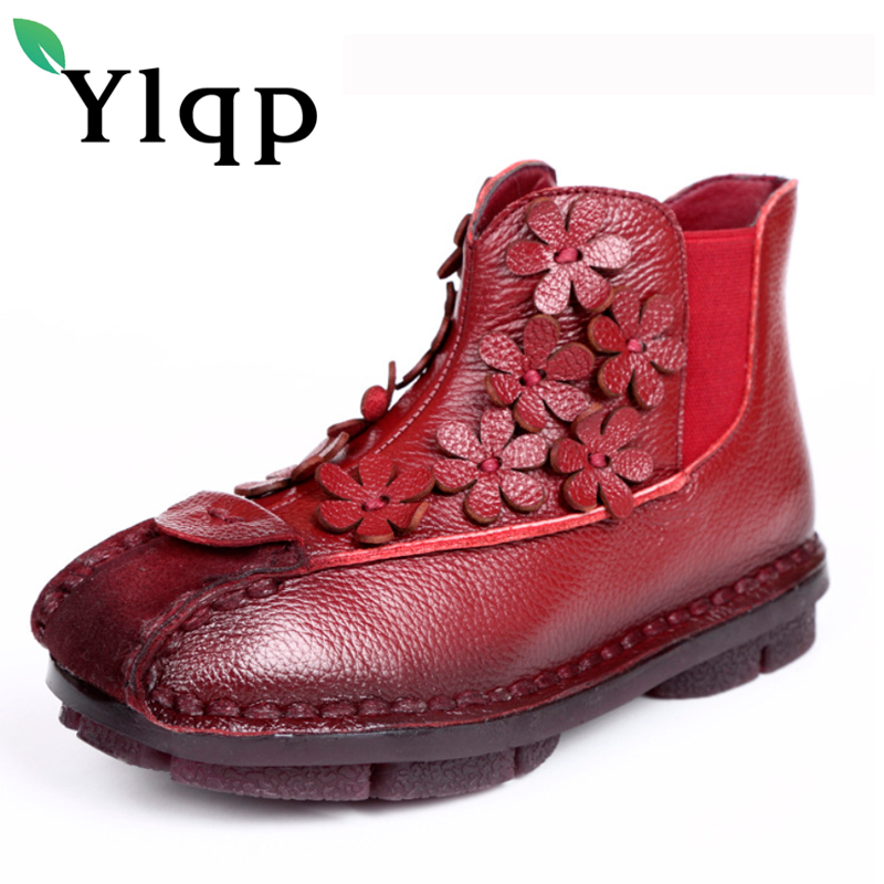 Ylqp Folk Style Genuine Leather Boots 2017 New Winter Flat Retro Ankle Boots Women Shoes Female Soft Non Slip Bottom Warm Shoes autumn and winter new personality retro cowhide ankle boots handsome female waterproof platform genuine leather women shoes 9731