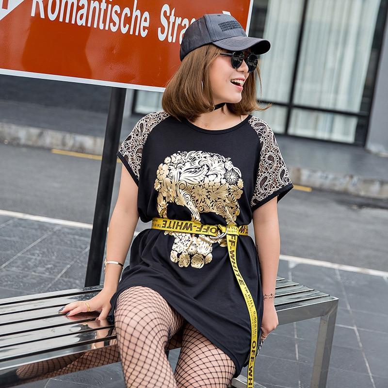 New Korean fashion large size women T-shirt printing plump women summer new stylish Korean Short Sleeved loose 810