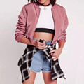 Womens Spring Autumn Pink Overcoat Long Sleeve Stand Collar Short Zipper Pilot Bomber Jacket Sunscreen Blouse Tops