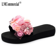 Summer Flowers One-Word Slipper Womens Non-skid Outside Slope-heeled Sandals Fashion Holiday Beach Shoes slippers female цена