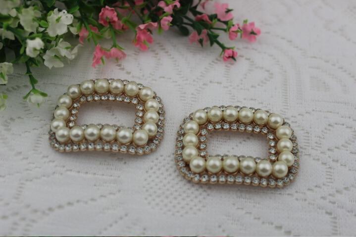 US $13.86 30% OFF|Freies verschiffen (6 Teilelos) diamant perle gold silber quadrat schnalle schuhe clip DIY handwerk schuh schnalle hardware