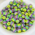6mm 100 unids Resina espaciador de los granos diy verde arco iris color de La Raya 6mm Dia, 100 Unids para el collar de la pulsera diy craft para el cabrito regalo
