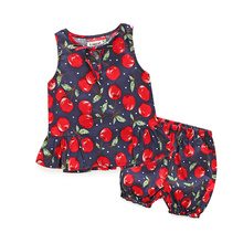 Baby Girl Clothes kids brand Newborn baby girls clothing Cherry vest + Shorts suit infant set bebes Sweet Baby Kid Girl 2pcs