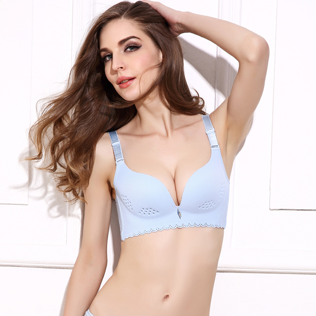 GUMPRUN Hollow Holes Women Bra Wire Free Breathable Soft Bra for Women Charming Solid Thin Cup Underwear Women Sexy Lingerie
