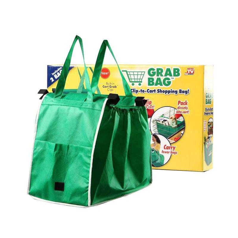 Ctdsgw000242 Pieghevoli Tote Della Borsa Riutilizzabile Grandi Sacchi Di Stoccaggio Clip-to-carrello Della Spesa Trolley Shopping Bags