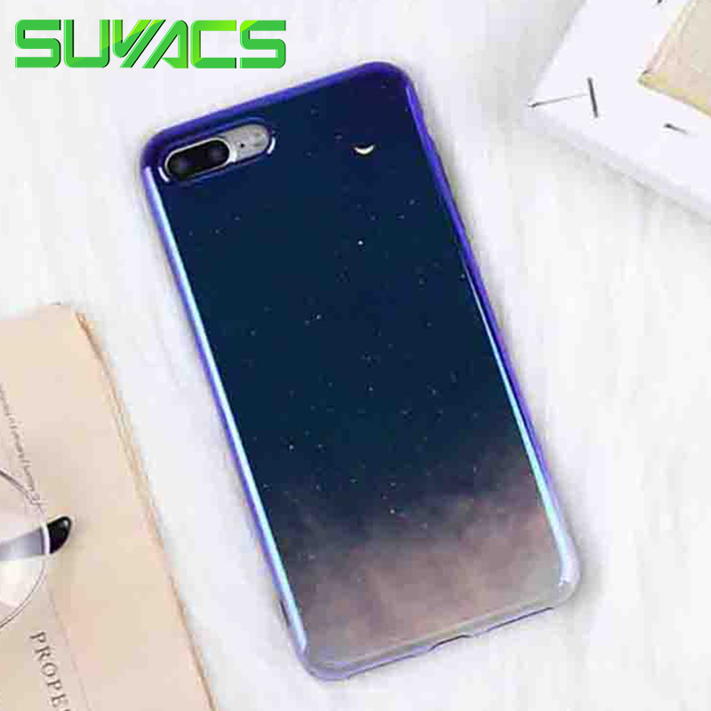 SUYACS For iPhone 6 6S 7 8 Plus X Phone Case Blu-Ray Glossy Star Moon Sky Soft Silicone IMD Mobile Phone Cover Cases Fundas Shel