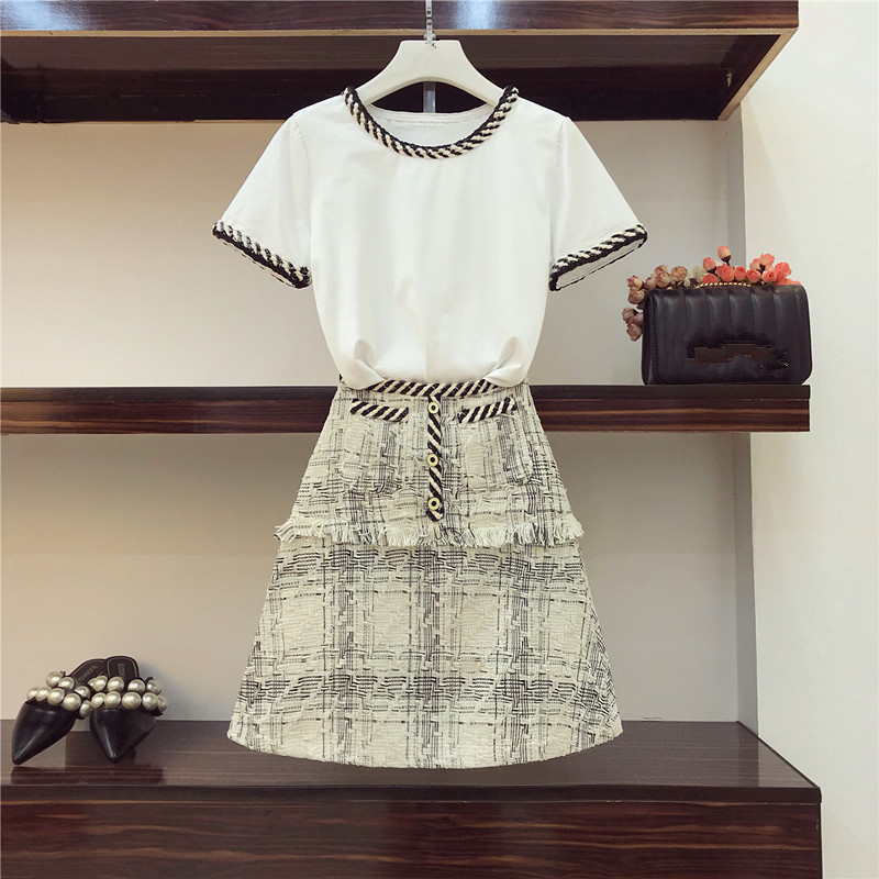 Two Pieces Set Women Clothes Skirt Suits2018 New Fashion Summer Women's Short Sleeve T-shirt + Buttocks Tweed Tassel Skirt Sets