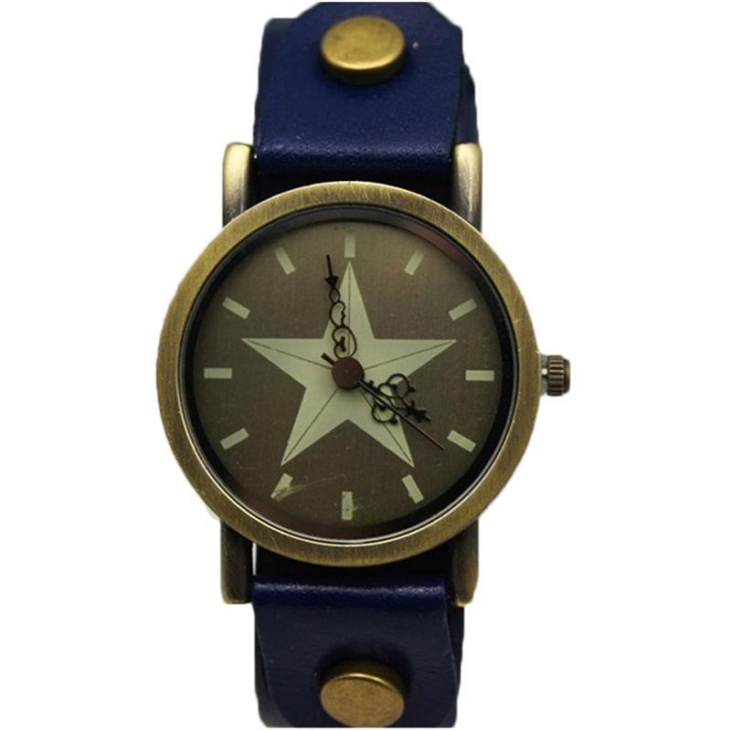 new fashion women casual dress leather strap wristwatch lady classic vintage star face high quality TADA brand quartz watch men