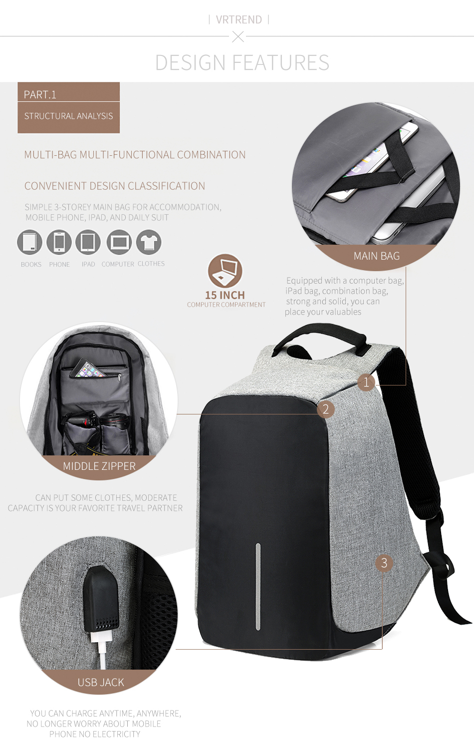 15 16inch Laptop Bags Anti Theft Usb Charging Travel Backpack Waist Bag Tas Maling Getsubject Aeproduct