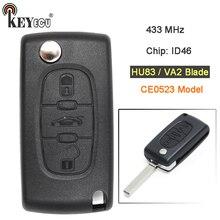 KEYECU CE0523 Modelo 433 mhz Chip de ID46 HU83/VA2 Lâmina Chave Do Carro Remoto Substituição Fob 3 Botão para Citroen c2 C3