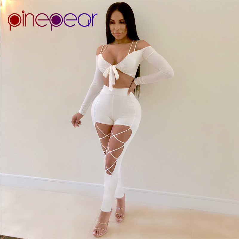 dc9a99ad43 PinePear White High Street Women Sets 2019 Bandage Bow V Neck Long Sleeve  Crop Top and